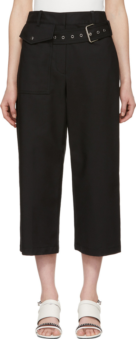3.1 Phillip Lim Black Belted Wide-Leg Trousers