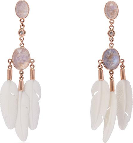 Jacquie Aiche Dream Catcher moonstone & bone rose-gold earrings
