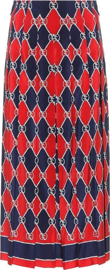 Gucci Gucci Rhombus silk midi skirt