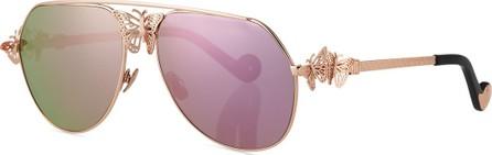 Anna Karin Karlsson Miss Rosell Aviator Sunglasses w/ 3D Butterfly Detail, Rose