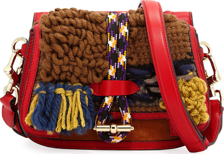 Carven Knitted Colorblock Double-Sided Saddle Bag