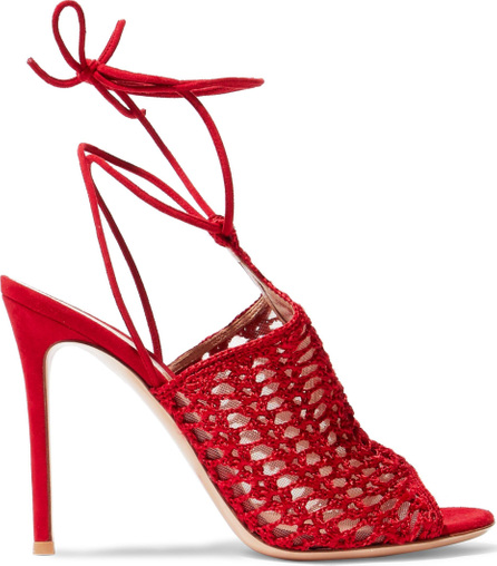 Gianvito Rossi Bardot suede and crochet-knit sandals