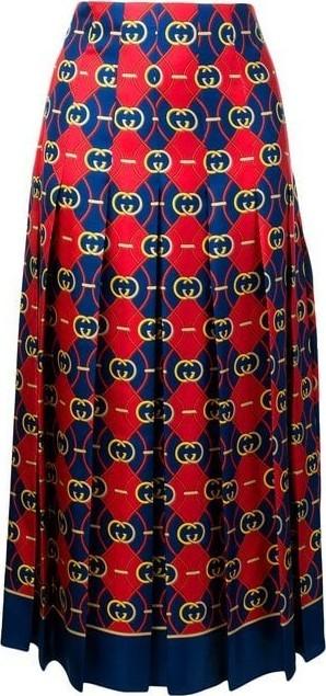 Gucci High Waisted Twill Midi Skirt