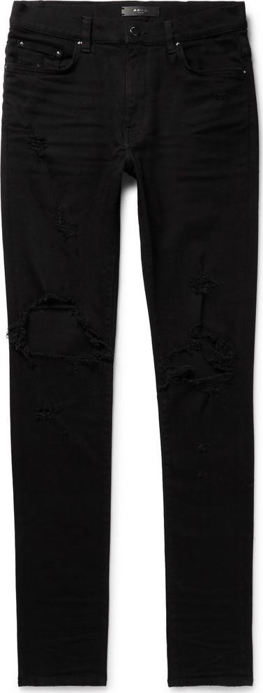 Amiri Thrasher Skinny-Fit Distressed Stretch-Denim Jeans