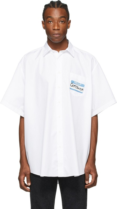Vetements White 'Capitalism' Short Sleeve Shirt