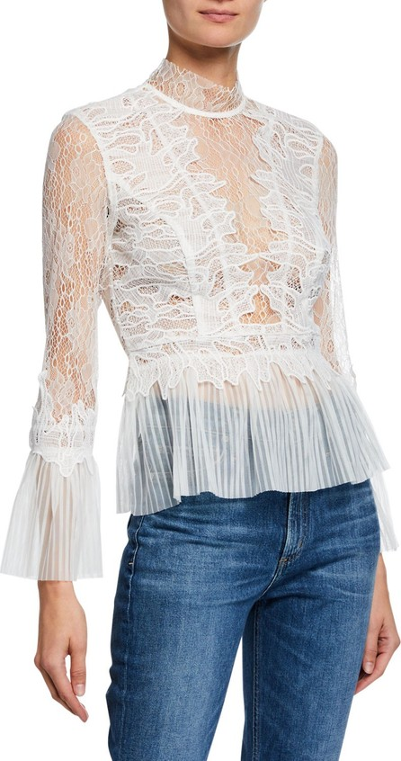 Bardot Francesca High-Neck Lace Peplum Top