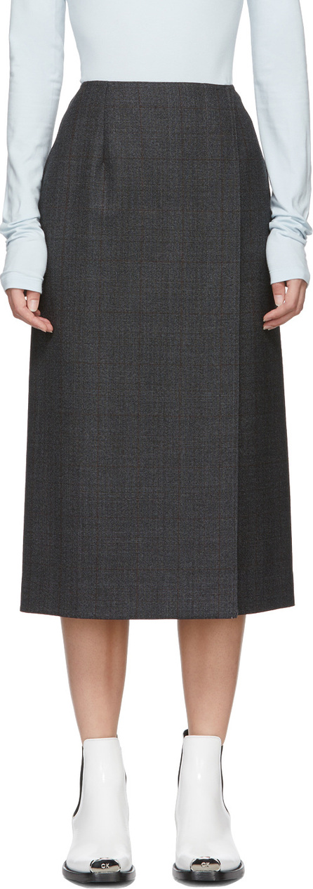 Calvin Klein 205W39NYC Grey Wool Checked Skirt