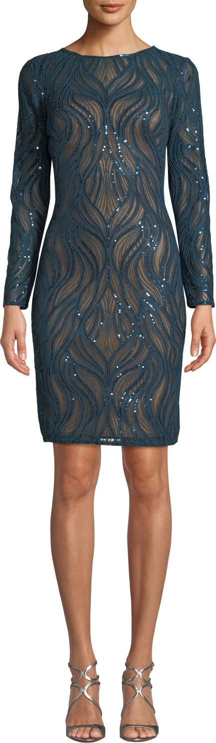 Tadashi Shoji Sequin Long-Sleeve Sheath Dress