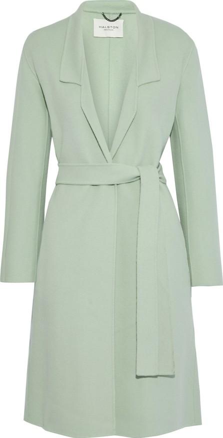 HALSTON HERITAGE Belted wool-blend felt coat