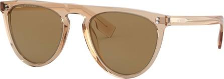 655794cd43 Burberry London England Semi-Transparent Acetate Flattop Aviator Sunglasses