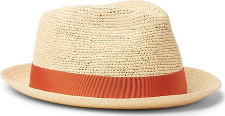 Borsalino Small-Brimmed Grosgrain-Trimmed Straw Panama Hat