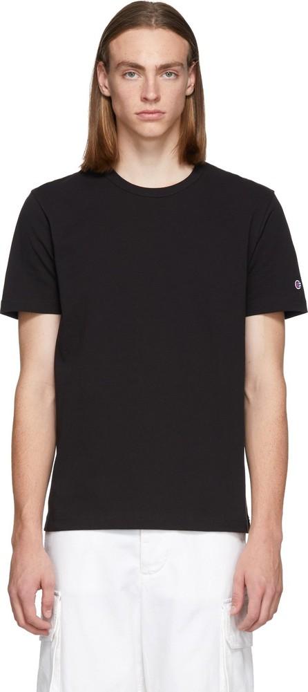 Champion Reverse Weave Black Logo Crewneck T-Shirt