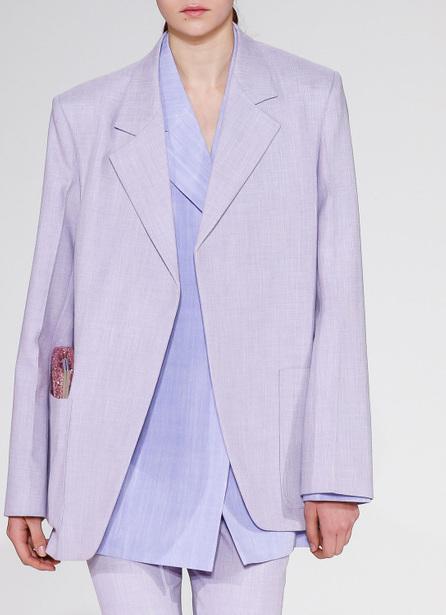 Victoria Beckham Notched-Lapels Open-Front Menswear-Inspired Blazer