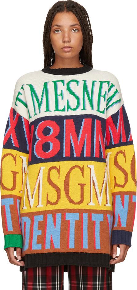 MSGM Multicolor Colorblock Logo Sweater