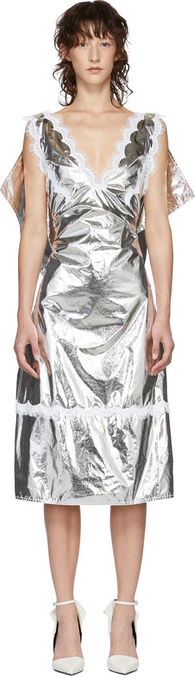 Calvin Klein 205W39NYC Silver Space Blanket Dress
