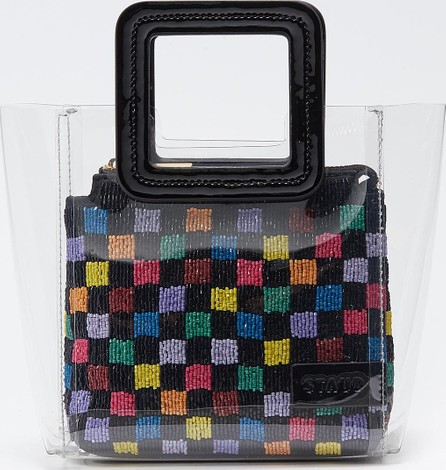 Staud 'Shirley' mini leather handle PVC beaded tote