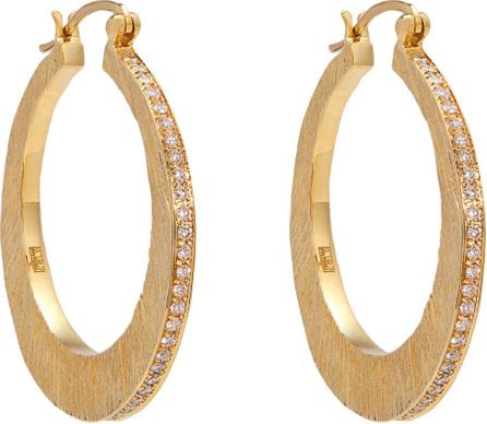 Patcharavipa 18kt gold and diamond-pavé hoop earrings