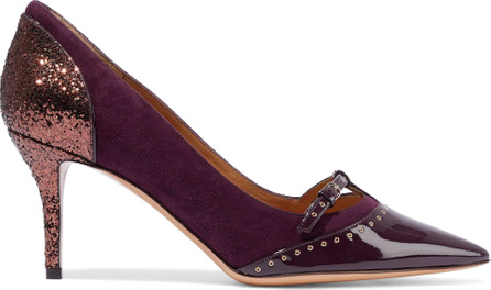 Salvatore Ferragamo Liena 70 paneled glittered, suede and patent-leather pumps