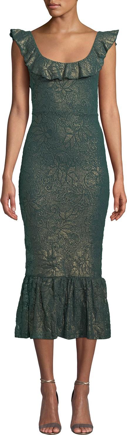 Nightcap Clothing Metallic Scoop-Neck Flounce-Hem Dress