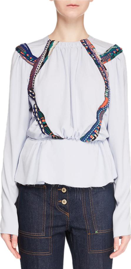 Carven Embroidered Long-Sleeve Crewneck Top
