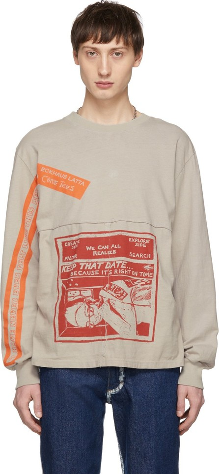 Eckhaus Latta Grey 'Keep That Date' Lapped Long Sleeve T-Shirt