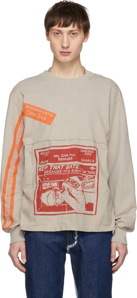 Eckhaus Latta Grey 'Keep That Date' Lapped Long Sleeve T-Shirt