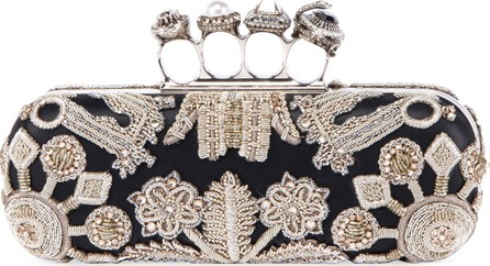 Alexander McQueen Jeweled Four Ring Clutch w/ Crystal Embroidered Swans
