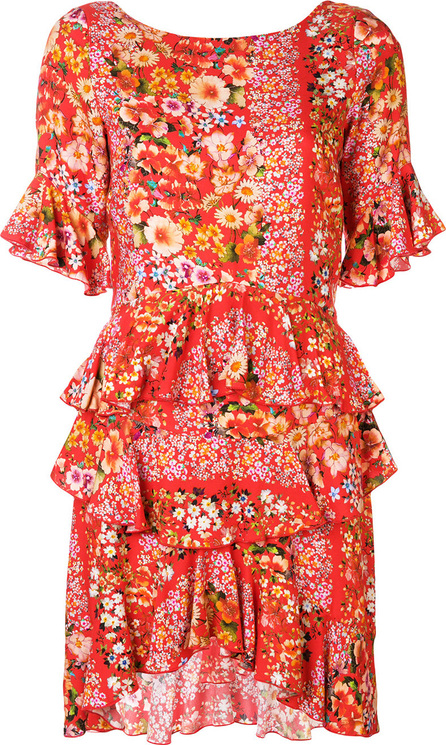Black Coral Floral print frill trim dress