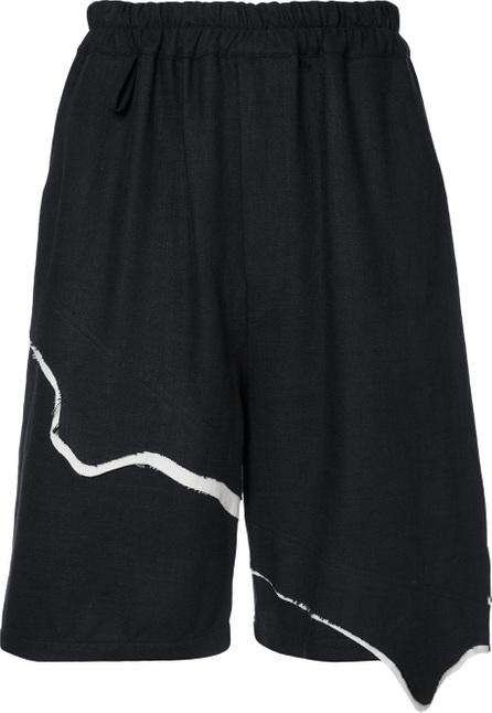 By Walid Asymmetric hem shorts with contrast trim