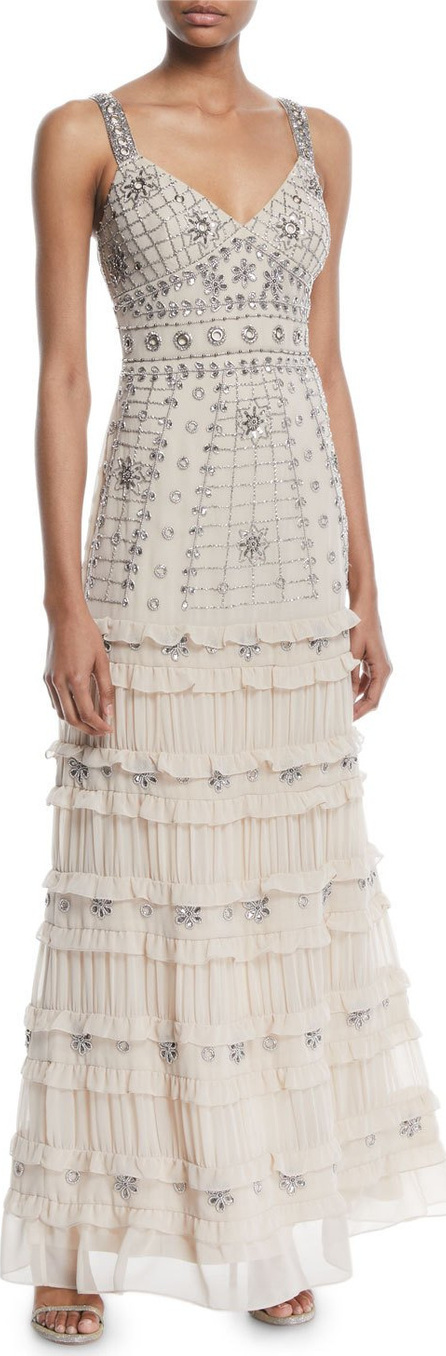 Aidan Mattox Sleeveless Tiered Beaded Gown