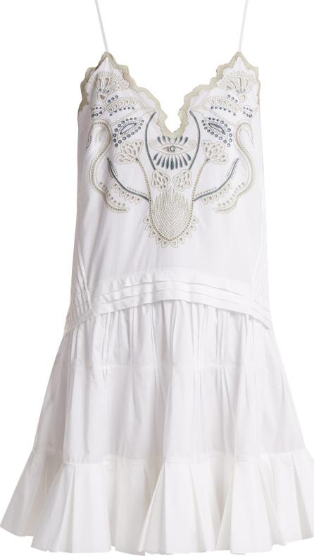 Chloe V-neck embroidered cotton-voile mini dress