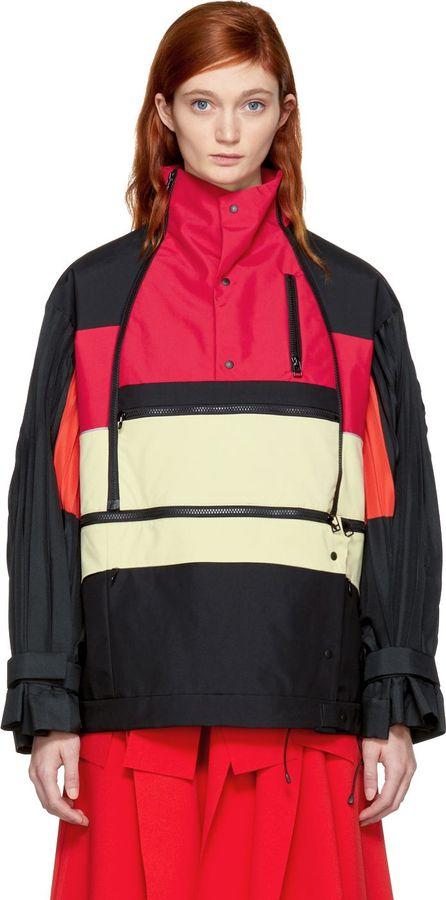 FACETASM Tricolor Pleat Sleeve Zip Jacket
