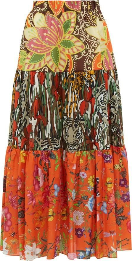 Gucci New India printed tiered cotton-poplin midi skirt