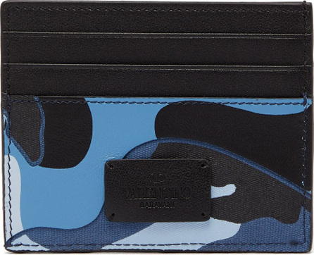 Valentino Camouflage-print leather cardholder
