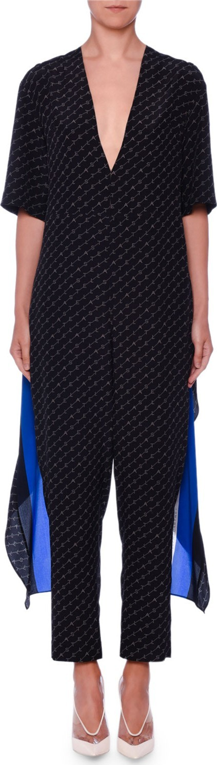 Stella McCartney Scarf-Back V-Neck Monogram-Print Silk Jumpsuit