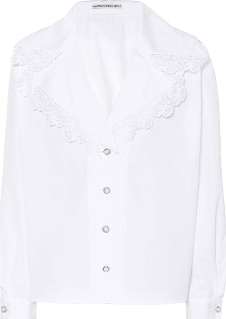 Alessandra Rich Lace-trimmed cotton shirt