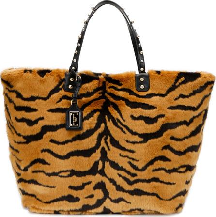 Dolce & Gabbana Beatrice Pellicciotto Tiger Faux-Fur Shopping Tote Bag
