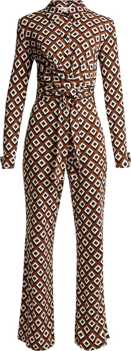 DIANE von FURSTENBERG Michele diamond-print silk jumpsuit