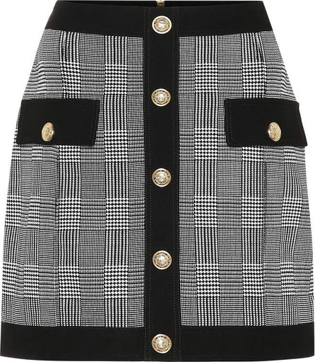 Balmain Checked stretch cotton skirt