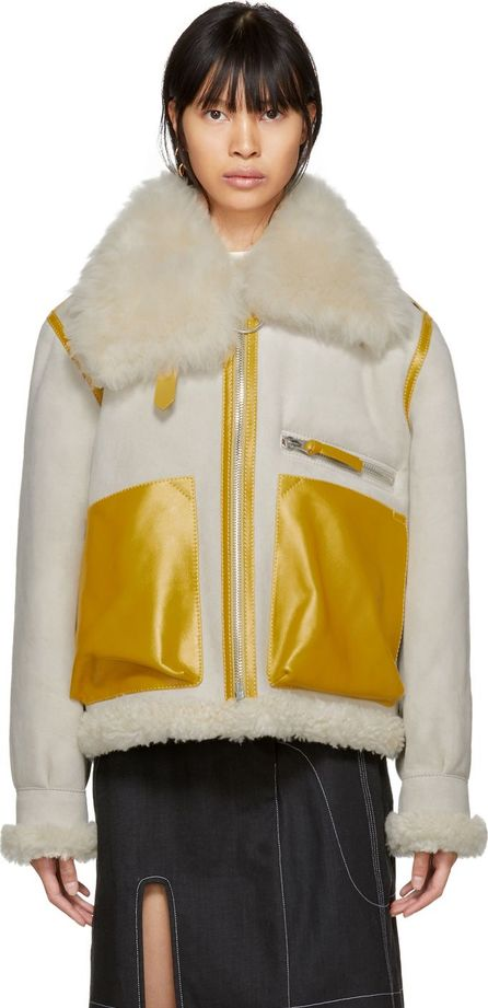 Acne Studios Grey & Yellow Shearling Lore Jacket
