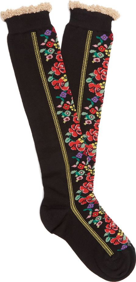 Gucci Ruffled and floral cotton-blend socks