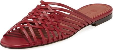 Loro Piana Kristin Latticed Lambskin Slide Sandals