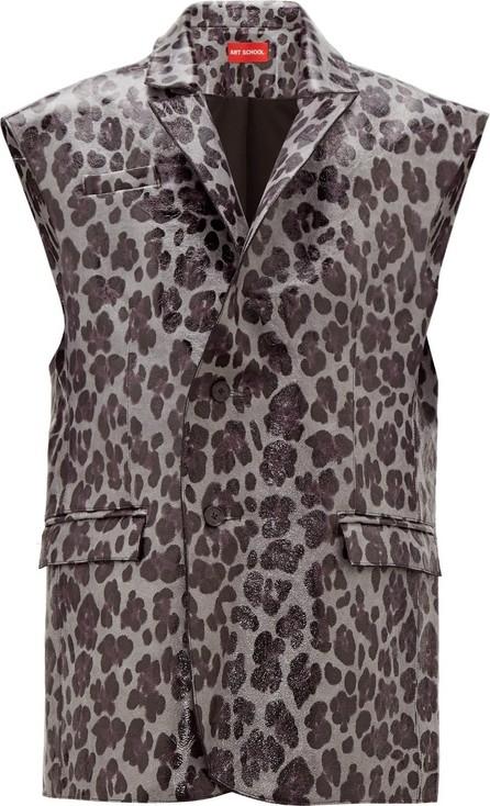 Art School Leopard-print sleeveless leather blazer