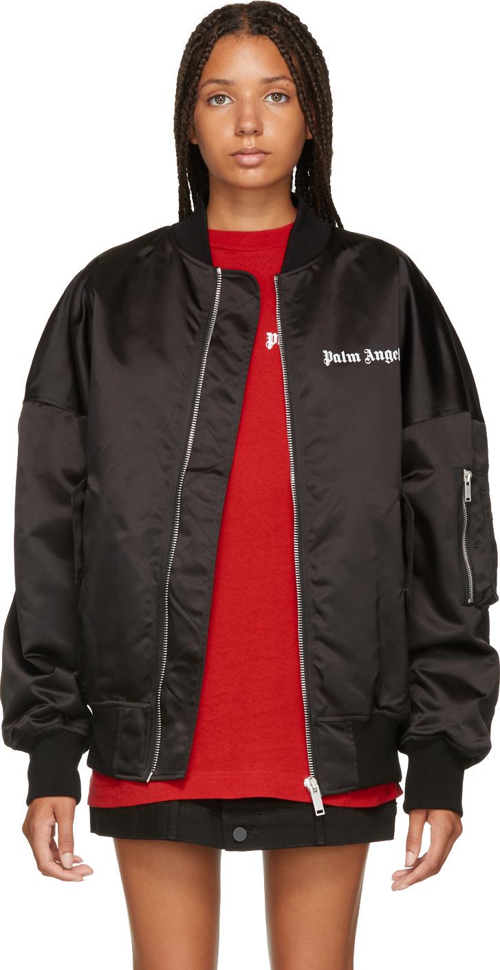 Palm Angels - Black Logo Oversized Bomber Jacket