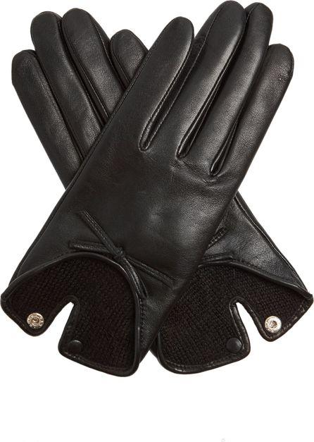 Agnelle Bow-embellished leather gloves