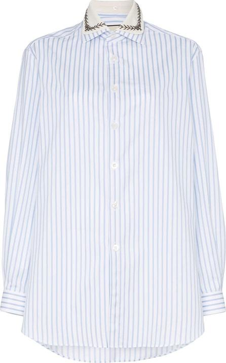 Gucci Embellished collar pinstripe cotton shirt