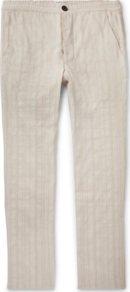 Oliver Spencer Beckford Striped Linen and Cotton-Blend Jacquard Trousers