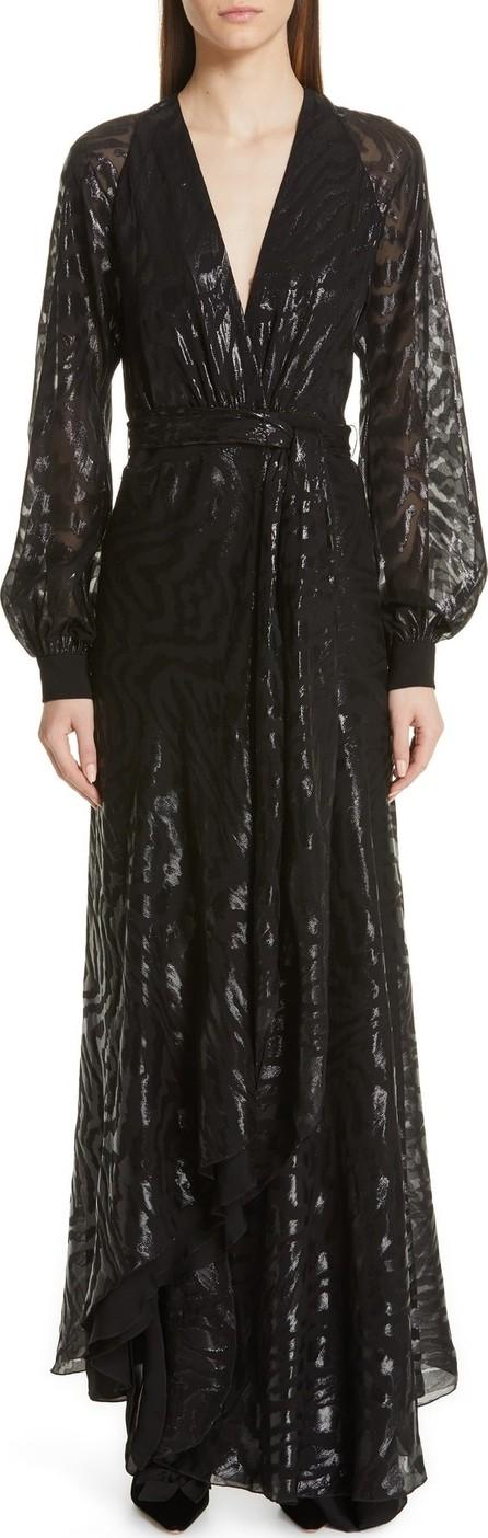 Haney Metallic Silk Long Sleeve Evening Dress