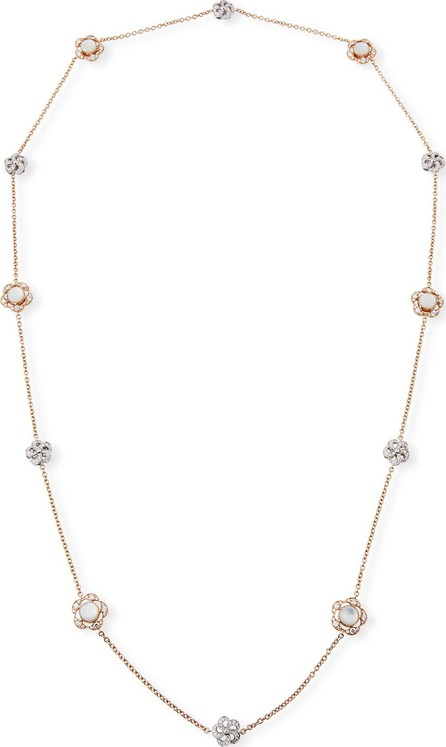"""Picchiotti 18k Rose Gold Diamond & Mother-of-Pearl Flower-Station Necklace, 36"""""""