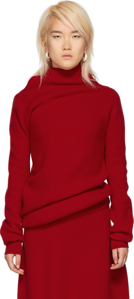 Jil Sander Red Ribbed Sweater